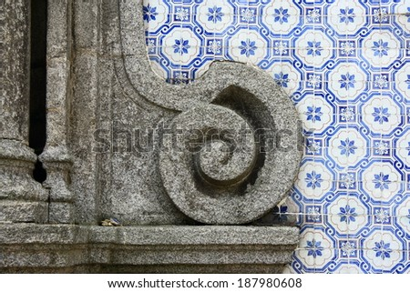 detail of traditional ceramic tiles on church in Oporto - stock photo