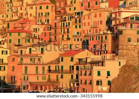 Detail of traditional village of Manarola at sunset, Cinque Terre, Italy - stock photo