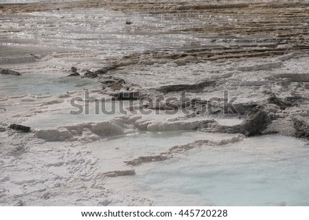 Detail of Travertine Terrace, Mammoth Hot Springs, Yellowstone - stock photo