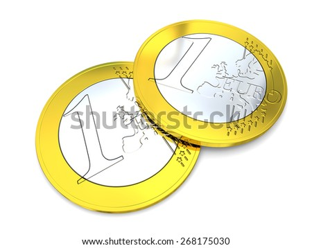 Detail of two Euro coins isolated on white background - stock photo