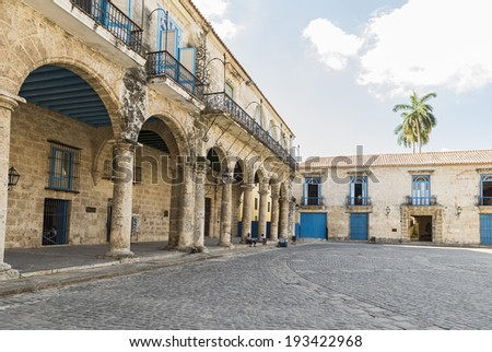 Detail of typical old Havana architecture - stock photo