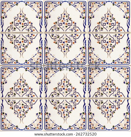 Detail of typical old Lisbon tiles, traditional decoration of Portugal (azulejos) - stock photo