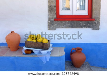 Detail of typical portuguese rural house with picturesque details - stock photo