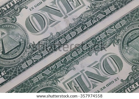 Detail of US dollar banknotes