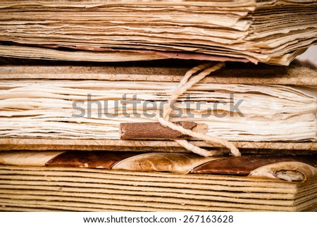 Detail of very old books - stock photo