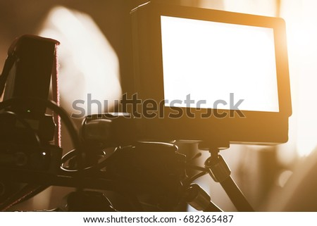detail of Video camera viewfinder, film crew productio,behind the scenes background