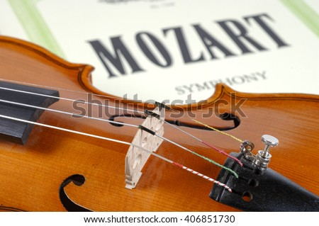 detail of violin as music instrument of orchestra - stock photo