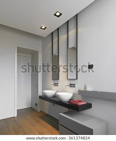 detail of washbasin on the woos worktop in the modern bathroom with wood floor - stock photo