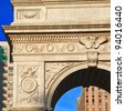 Detail of Washington Square arch - stock photo