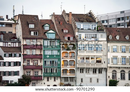 Detail of waterfront houses along the Rhine River in Basel, Switzerland - stock photo
