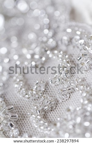 Detail of wedding dress - macro photo - stock photo
