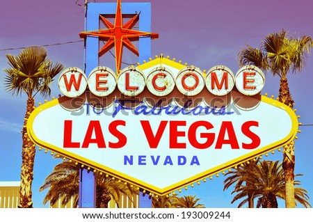 detail of Welcome to Fabulous Las Vegas sign - stock photo