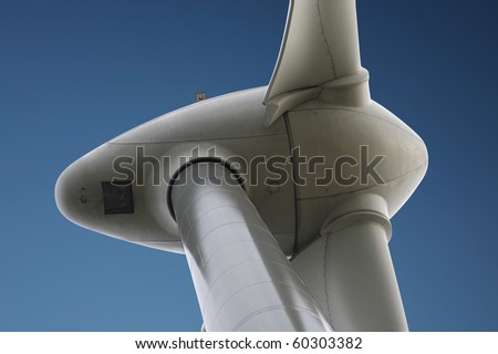Detail of wind turbine generator - stock photo