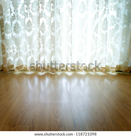 Detail of window decor lace curtains. - stock photo