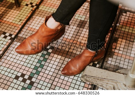 Detail Woman Wearing Brown Leather Boots Stock Photo Edit Now