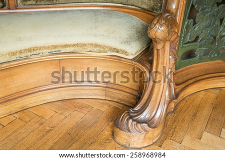 Detail of wooden chair, art nouveau style, Nancy, France - stock photo
