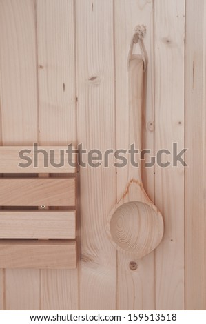 Detail of  wooden club in a sauna  - stock photo