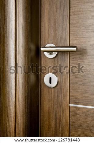 Detail of wooden door. - stock photo