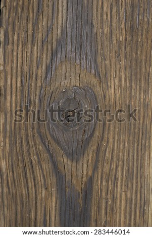 Detail of worn wood grain texture on a plank, - stock photo