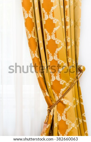Detail of yellow-golden vintage drapery