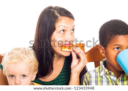 Detail of young woman with children eating pizza, isolated on white background. - stock photo