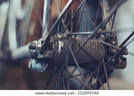 Detail old bicycle with a retro effect - stock photo