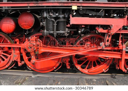 Detail old steam locomotive - stock photo