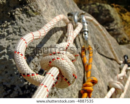 Detail on a canyoning rope