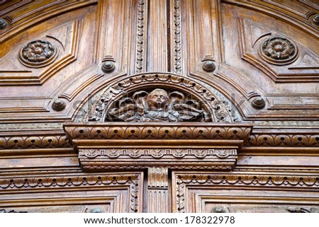 Detail on a church door in Quito, Ecuador - stock photo
