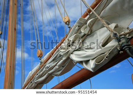 Detail on an old wooden boat used for whale watching in Husavik, Iceland - stock photo