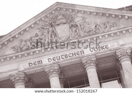 Detail on Reichstag Parliament Building, Berlin; Germany; Europe