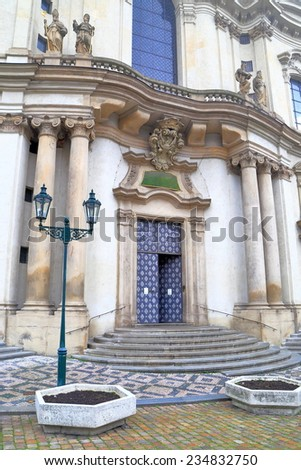 Detail on the Baroque facade of St Nicholas Church, Prague Old Town, Czech Republic - stock photo