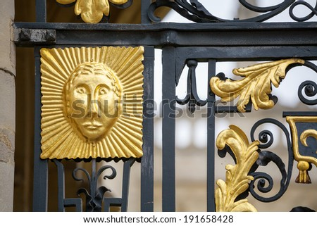 Detail on the entrance gate. All Souls college of Oxford University, England - stock photo