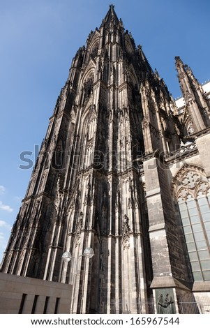 Detail on the famous and enormous Cologne Cathedral in Germany.