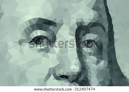detail one hundred dollars Benjamin Franklin low poly - stock photo