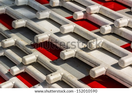Detail os street barriers, red and white - stock photo