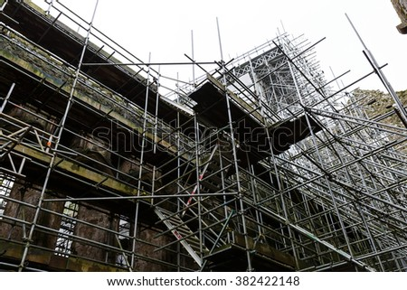 Detail photo of an ancient building under renovation