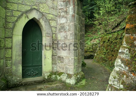 detail photo of an old church covered with moss