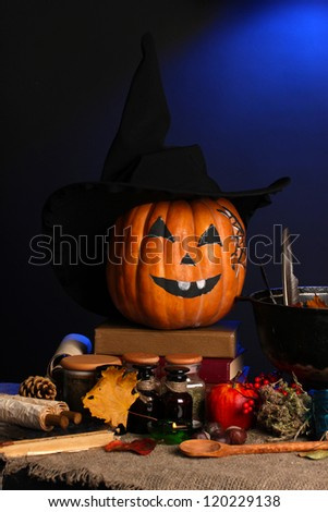 Detail photo of Scary halloween laboratory in blue light - stock photo