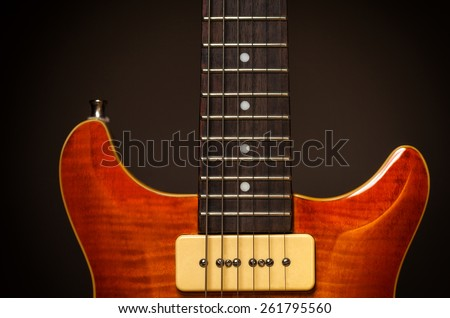 Detail Picture of a vintage, classic electric guitar - stock photo