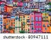 Detail scenic view of colorful houses in Provence village Menton, France - stock photo