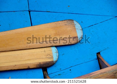 Detail shoot of blue gondola and vessels inside of Venice boat, Italy - stock photo