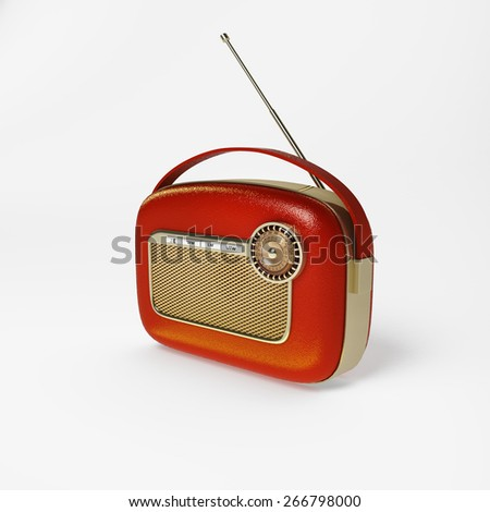 Detail shot of a vintage radio with dials - stock photo