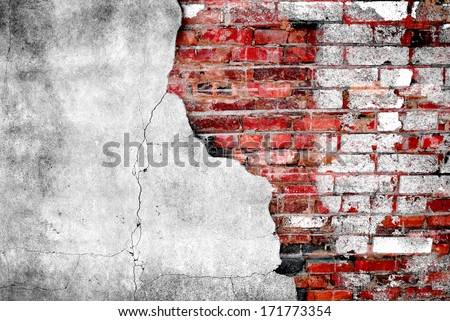 Detail shot of an old brick wall - stock photo