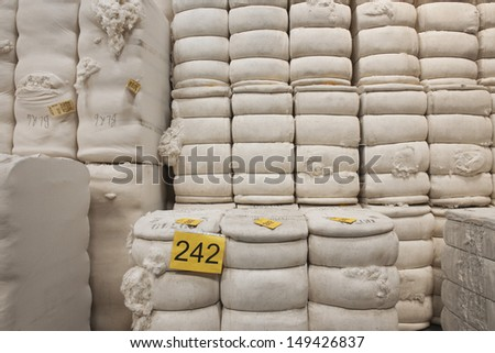 Detail shot of cotton stacked in spinning factory