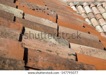 Detail shot of house roof tiles