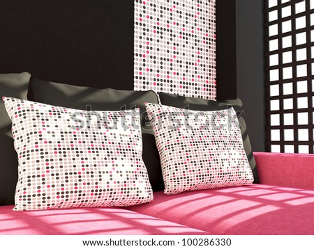 Detail shot of modern living room furniture. Interior design. Pink living room couch with pillows.