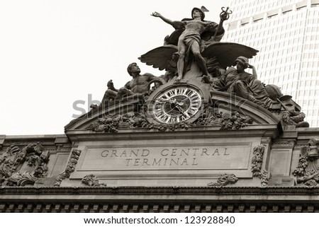 Detail shot of the architecture of the Grand Central Terminal in New York city, USA. - stock photo