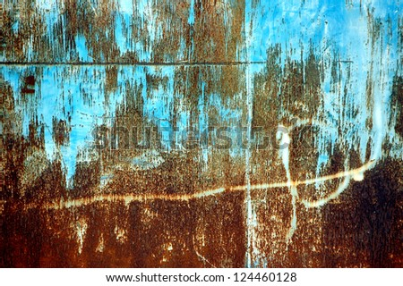 detail textures and patterns of rusty iron plate - stock photo