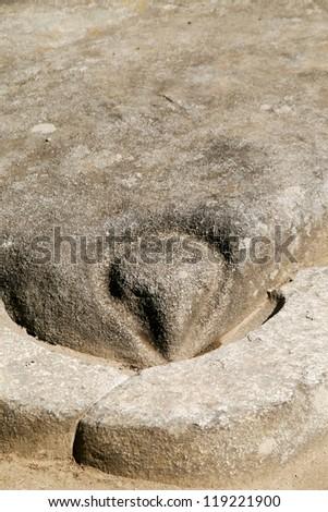 Detail - the stone head of condor in Temple of Condor in Machu Picchu, Peru - stock photo
